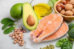 Avocado, salmon and nuts provide healthy fatty acids